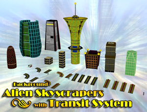 Background Alien Skyscrapers with Transit System