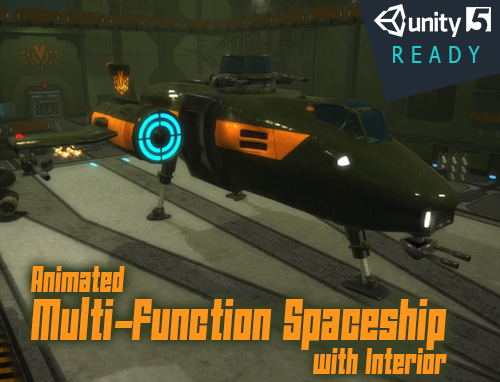 Animated Multi-Function Spaceship with Interior